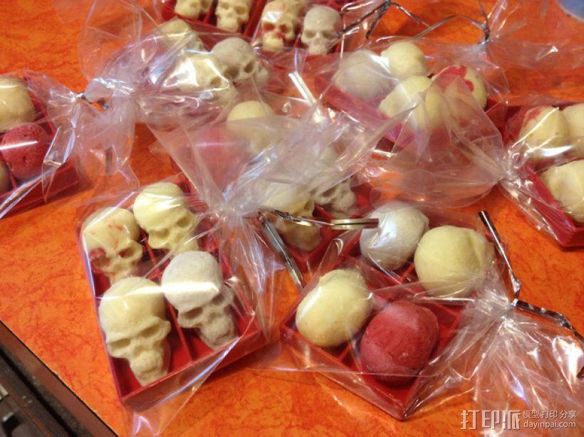 骷髅头形白巧克力模具 3D模型  图2