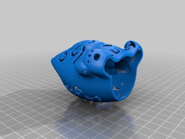 招财猫形镂空灯罩 3D模型  图2