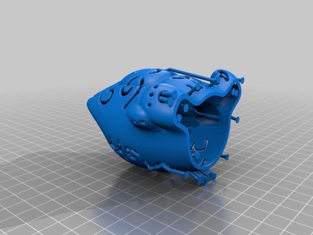 招财猫形镂空灯罩 3D模型  图3