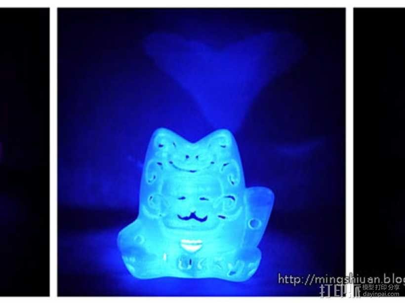 招财猫形镂空灯罩 3D模型  图7