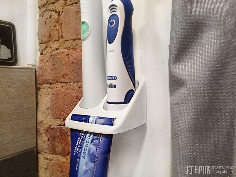 牙刷/牙膏固定架 3D模型  图1