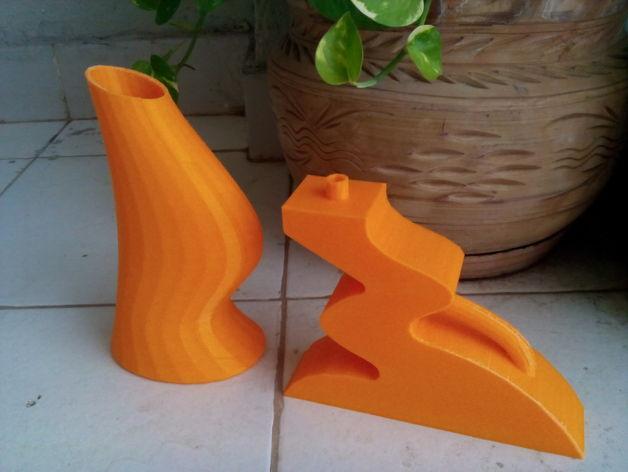 迷你简易橙色花瓶 3D模型  图1
