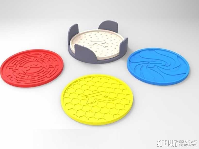 圆形杯托套件 3D模型  图1