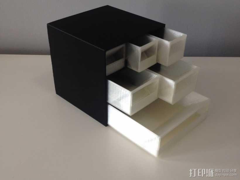多层多格迷你储物抽屉 3D模型  图1