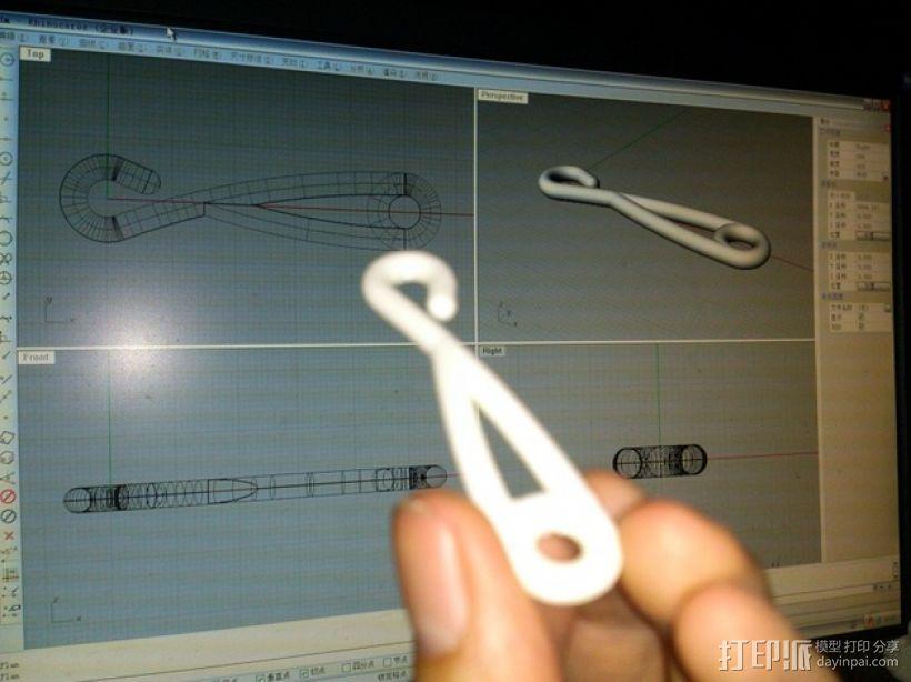简易窗帘挂钩 3D模型  图4