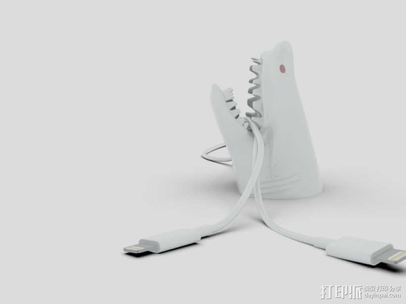 鲨鱼形桌面电线支架 3D模型  图1