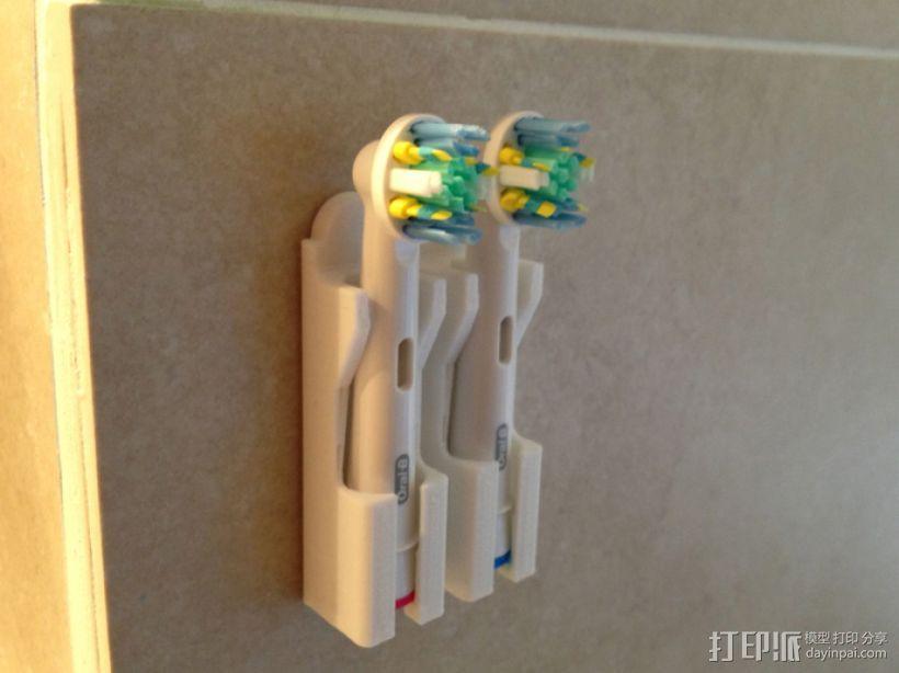 壁挂式牙刷固定架 3D模型  图1