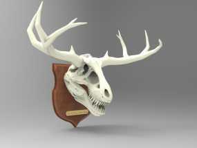 墙面装饰品:鹿角+恐龙 3D模型