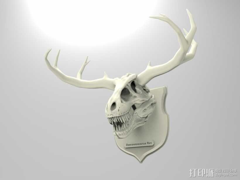 墙面装饰品:鹿角+恐龙 3D模型  图5