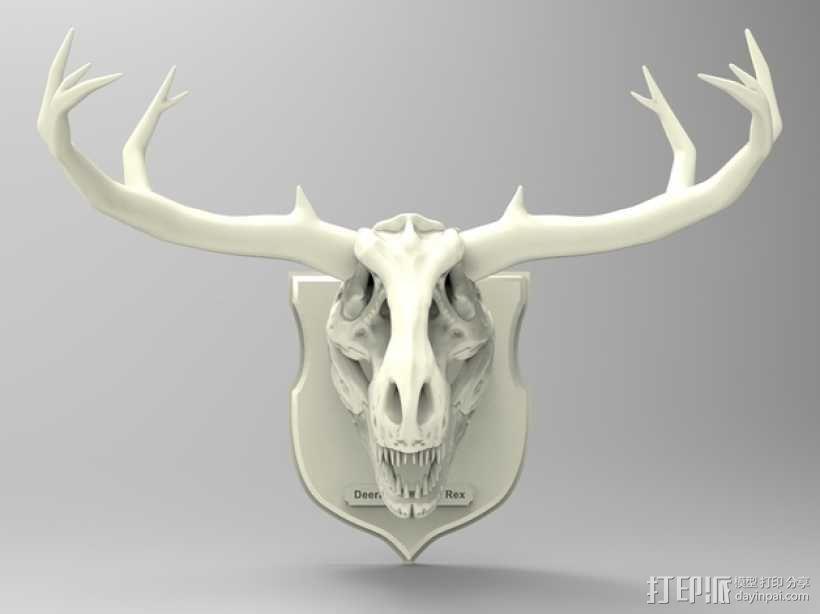 墙面装饰品:鹿角+恐龙 3D模型  图4