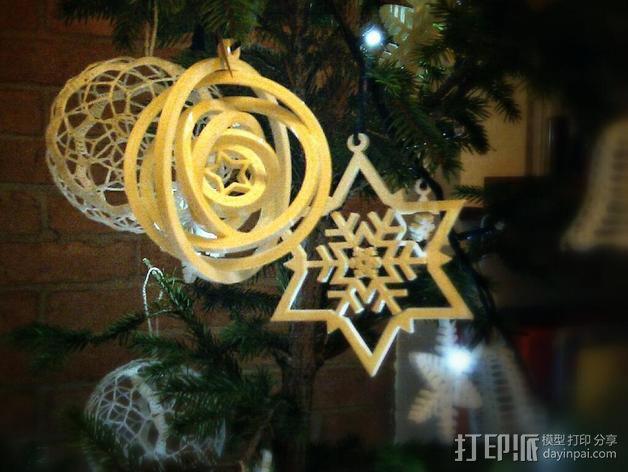 陀螺形圣诞树装饰品 3D模型  图2