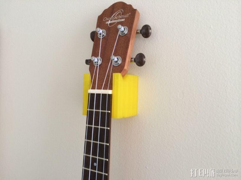 壁挂式四弦琴固定夹 3D模型  图1