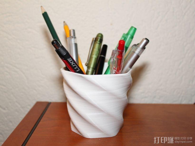 螺旋形花盆/笔筒 3D模型  图2