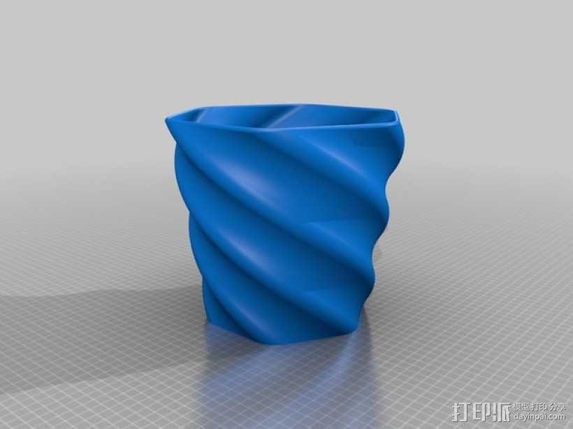 螺旋形花盆/笔筒 3D模型  图3