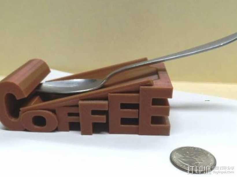 带有咖啡字样的汤匙架 3D模型  图1