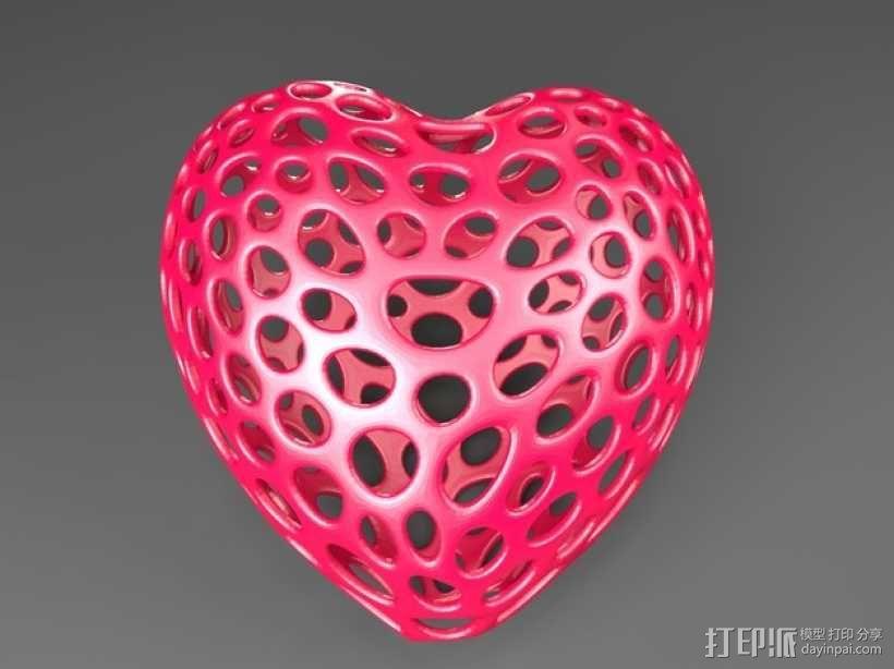 泰森多边形镂空心形装饰品 3D模型  图1