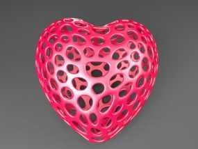 泰森多边形镂空心形装饰品 3D模型