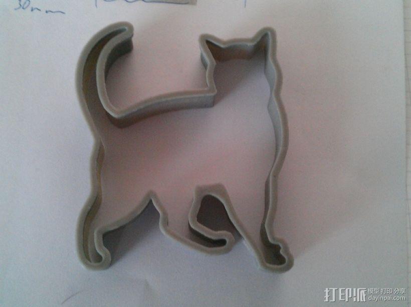 猫形饼干模具切割刀 3D模型  图1