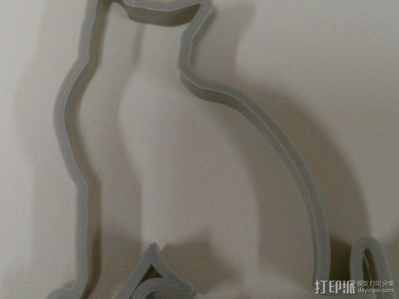 猫形饼干模具切割刀 3D模型  图2
