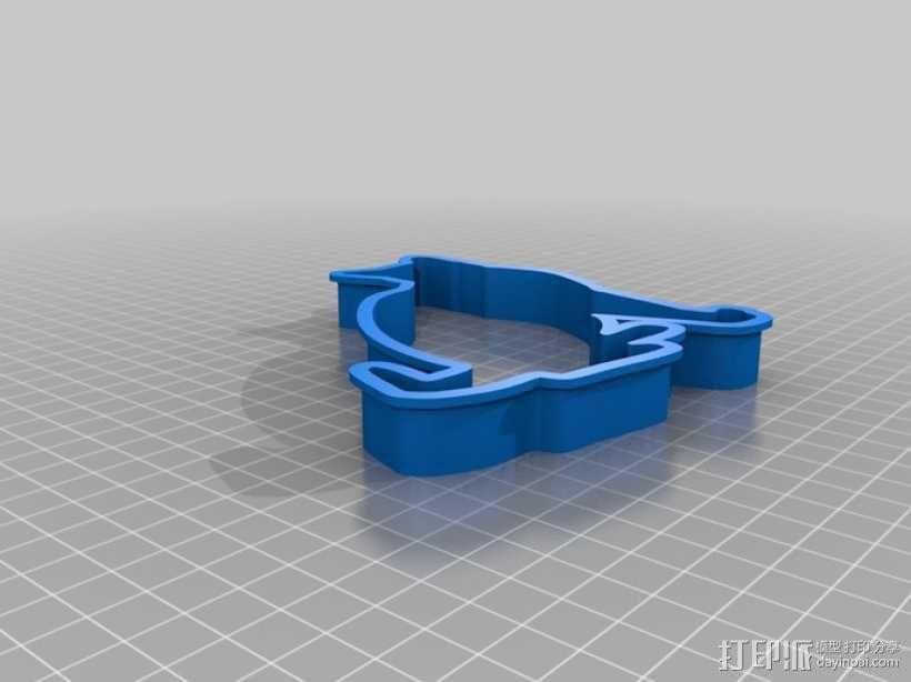 猫形饼干模具切割刀 3D模型  图3