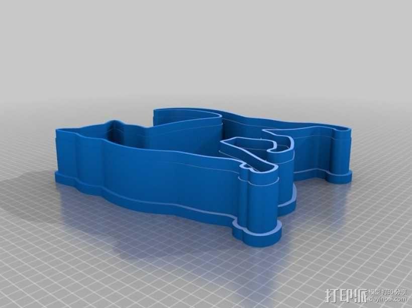 猫形饼干模具切割刀 3D模型  图4