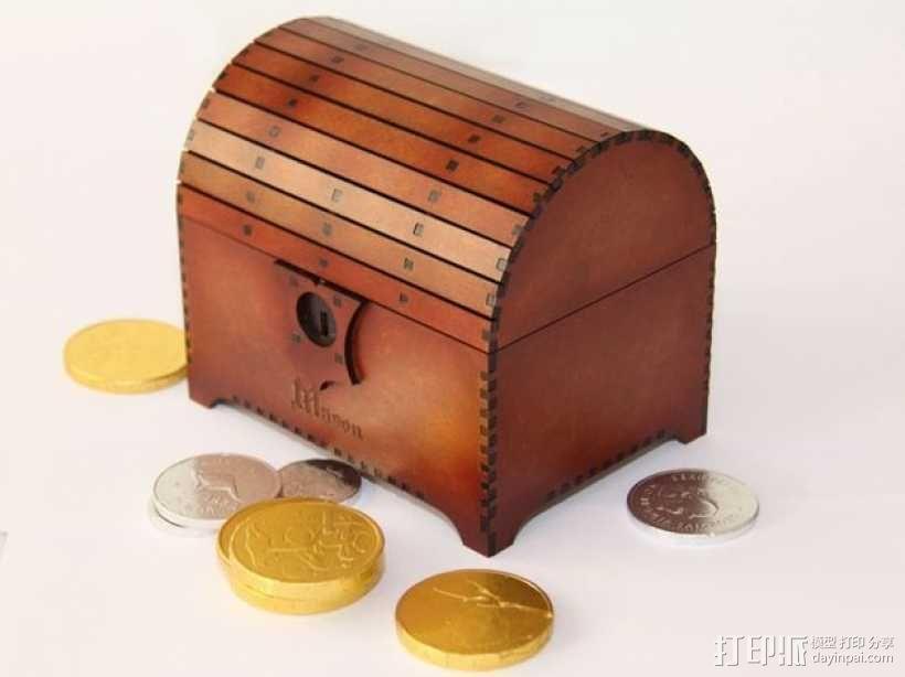 带锁的藏宝箱 3D模型  图1