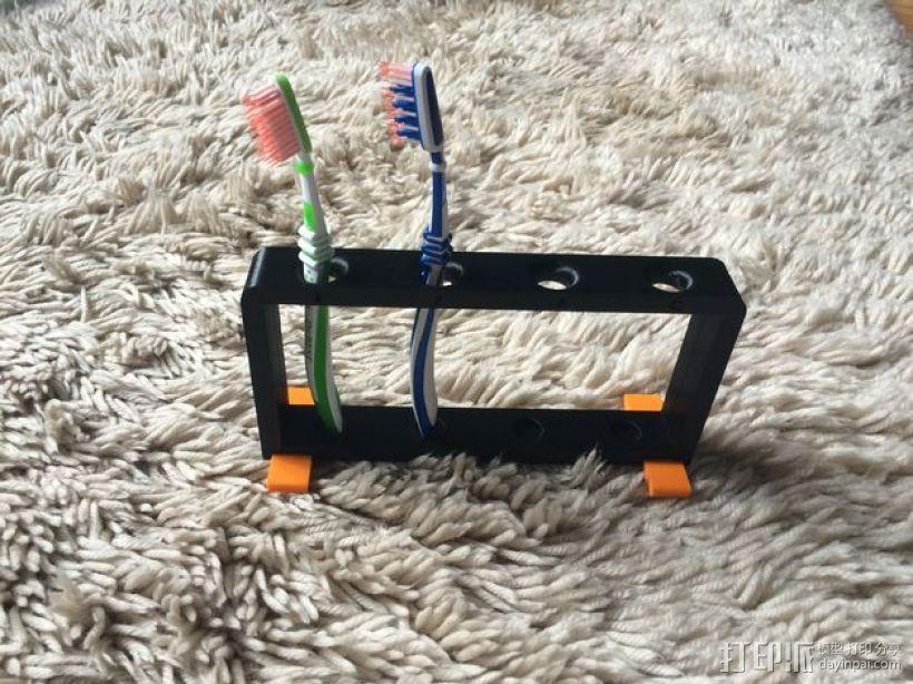 4孔牙刷架 3D模型  图1