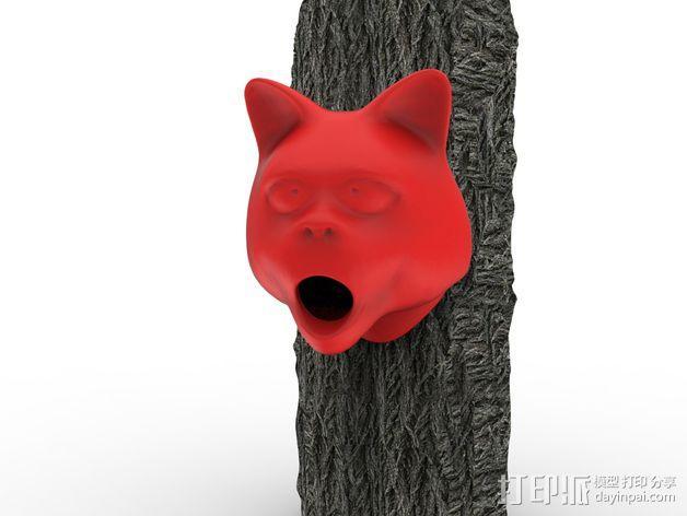 猫形鸟笼 3D模型  图1