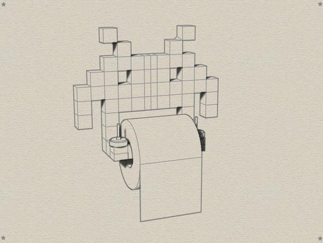 入侵者厕纸架 3D模型  图3