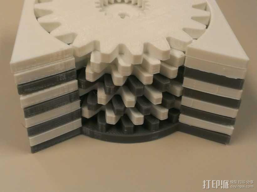 齿轮形杯垫 3D模型  图2