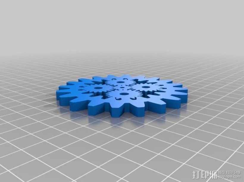 齿轮形杯垫 3D模型  图4