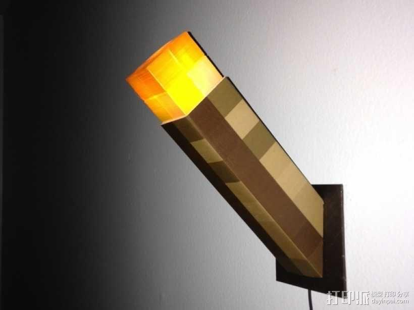 壁挂式Minecraft火炬形小夜灯 3D模型  图1