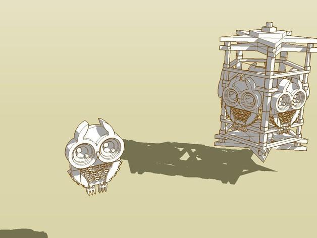 猫头鹰形小夜灯 3D模型  图2
