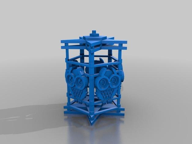 猫头鹰形小夜灯 3D模型  图3