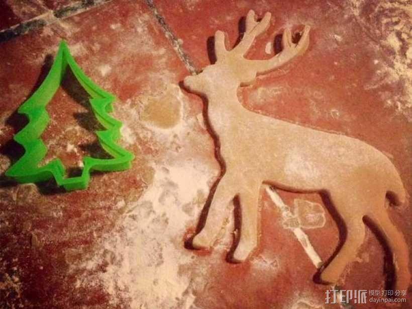 圣诞驯鹿饼干模具切割刀 3D模型  图3