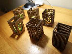 激光切割方形烛台 3D模型