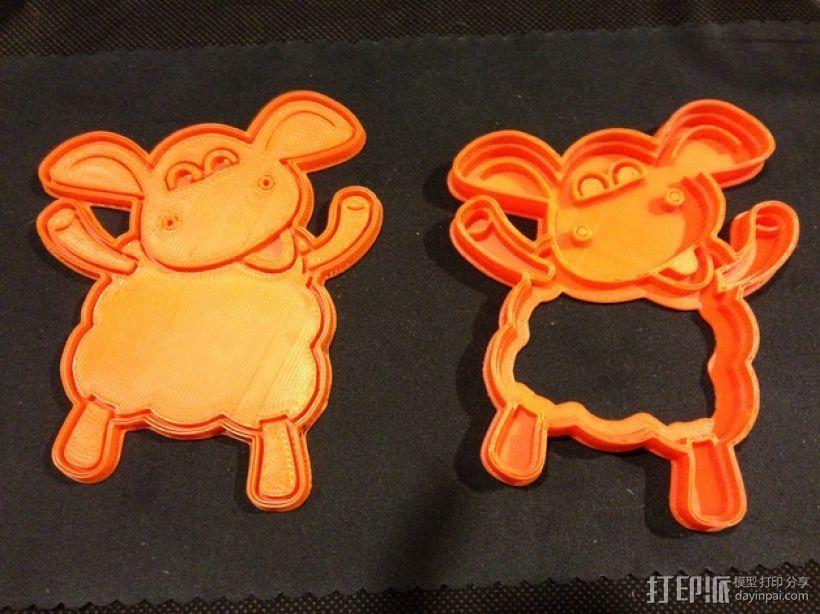 小小羊提米饼干模具切割刀 3D模型  图1