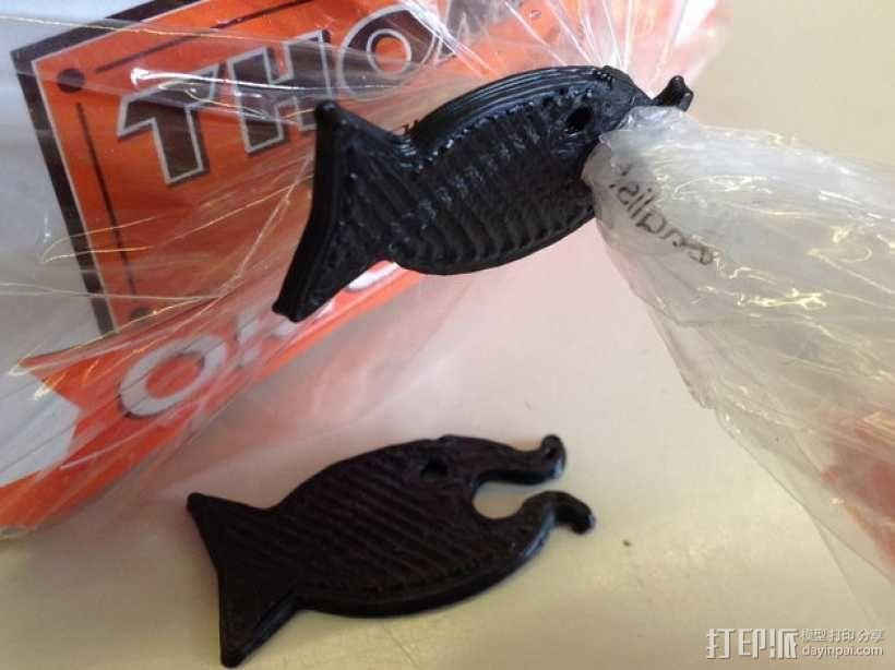 鱼形包装袋夹 3D模型  图2