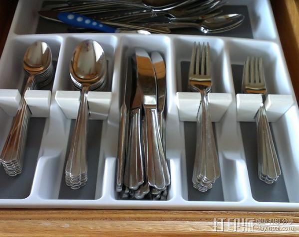 银制餐具收纳盒 3D模型  图3