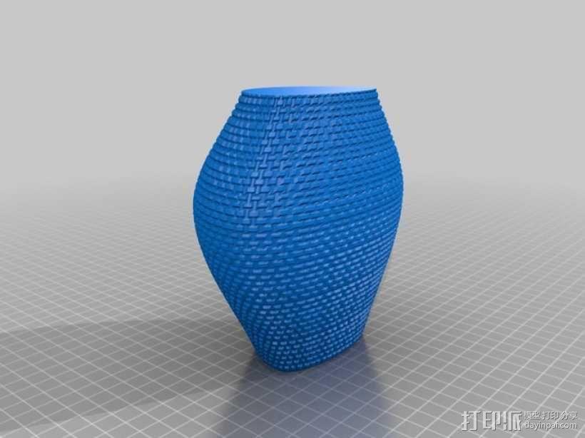 滚花形圆形花瓶 3D模型  图2