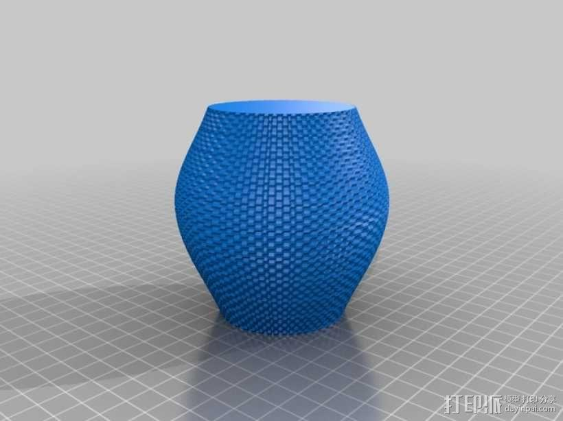 滚花形圆形花瓶 3D模型  图3