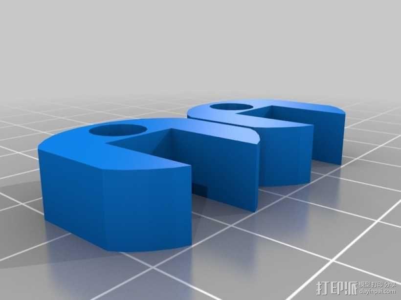 玻璃门磁铁支架 3D模型  图1