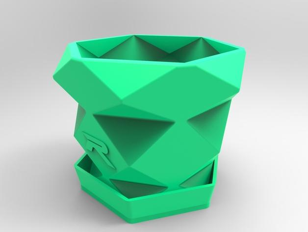多边形花盆 3D模型  图1