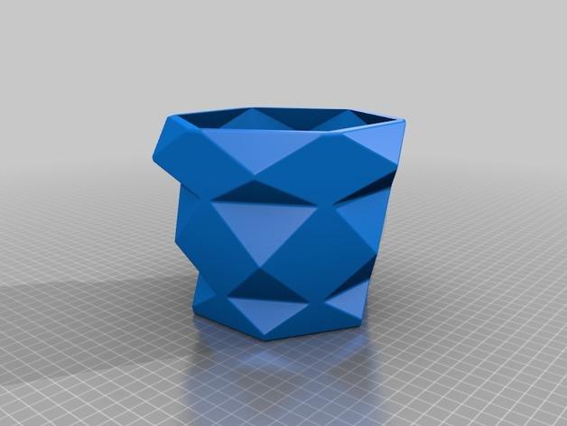 多边形花盆 3D模型  图3