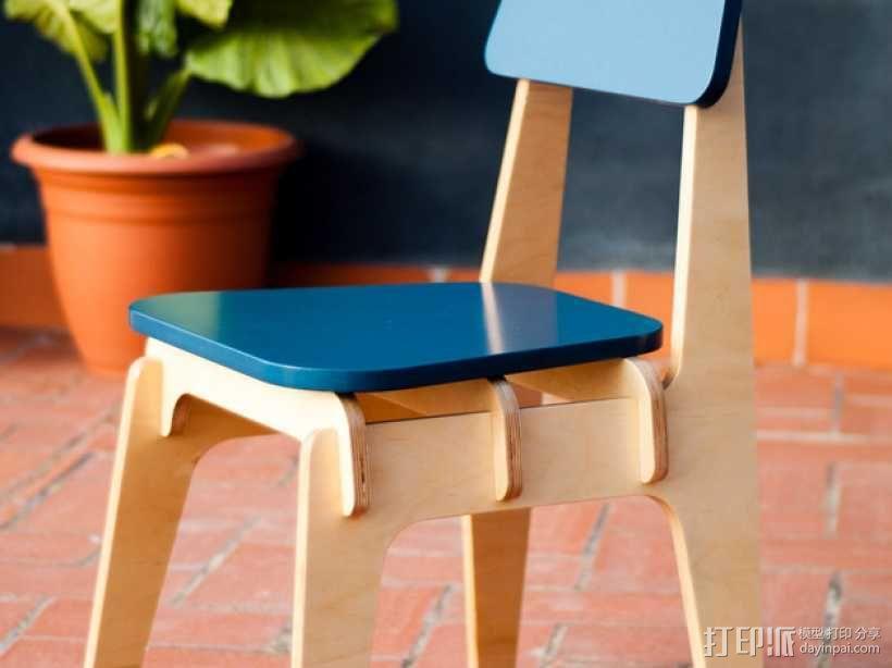 数控切割迷你椅子 3D模型  图1