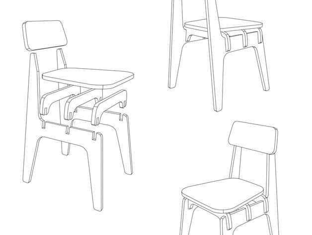 数控切割迷你椅子 3D模型  图6