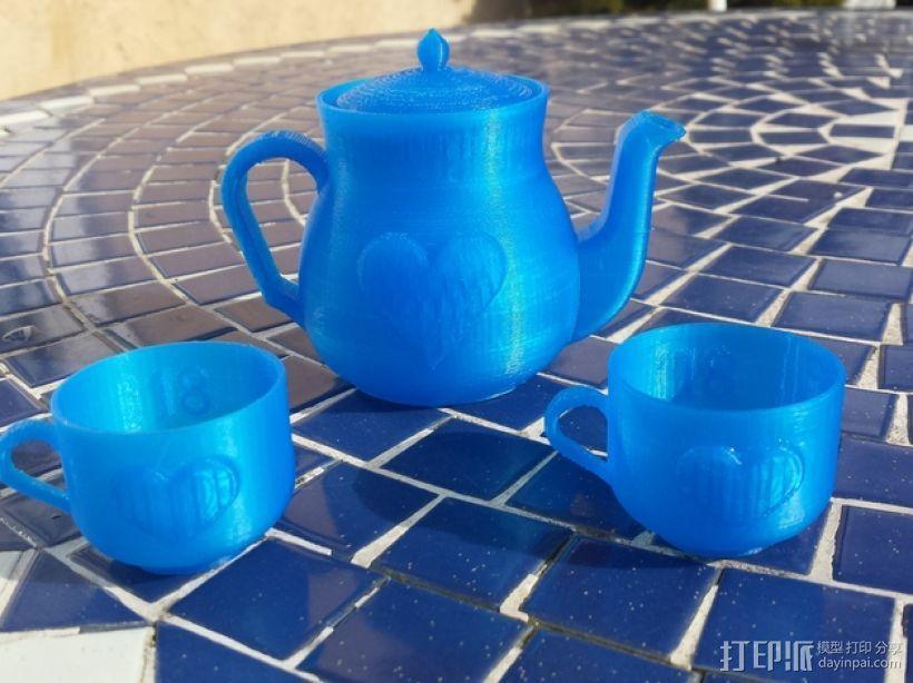 迷你心形茶壶套件 3D模型  图1