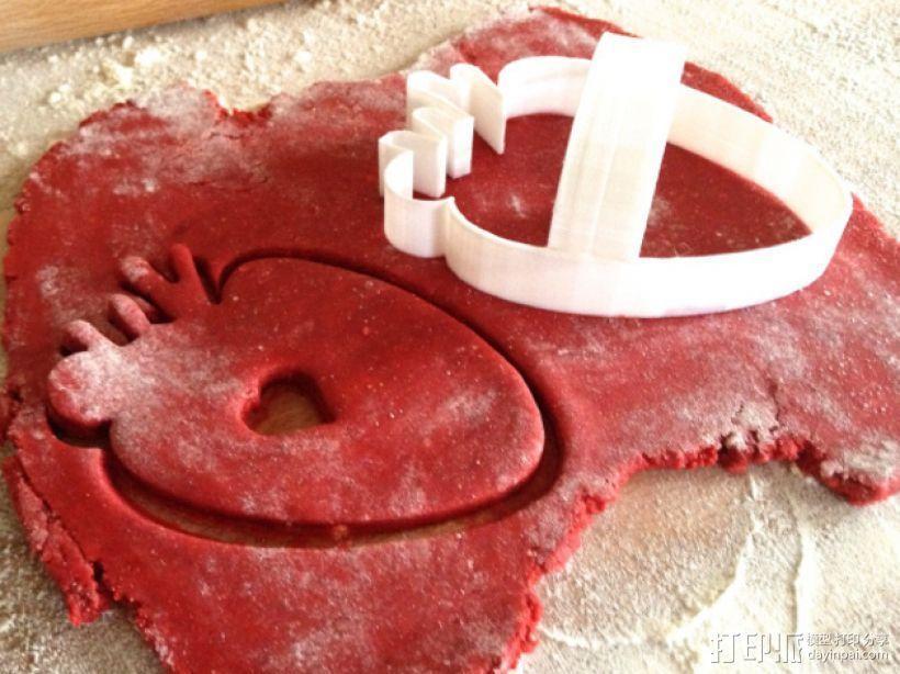 草莓心形饼干模具切割刀 3D模型  图1