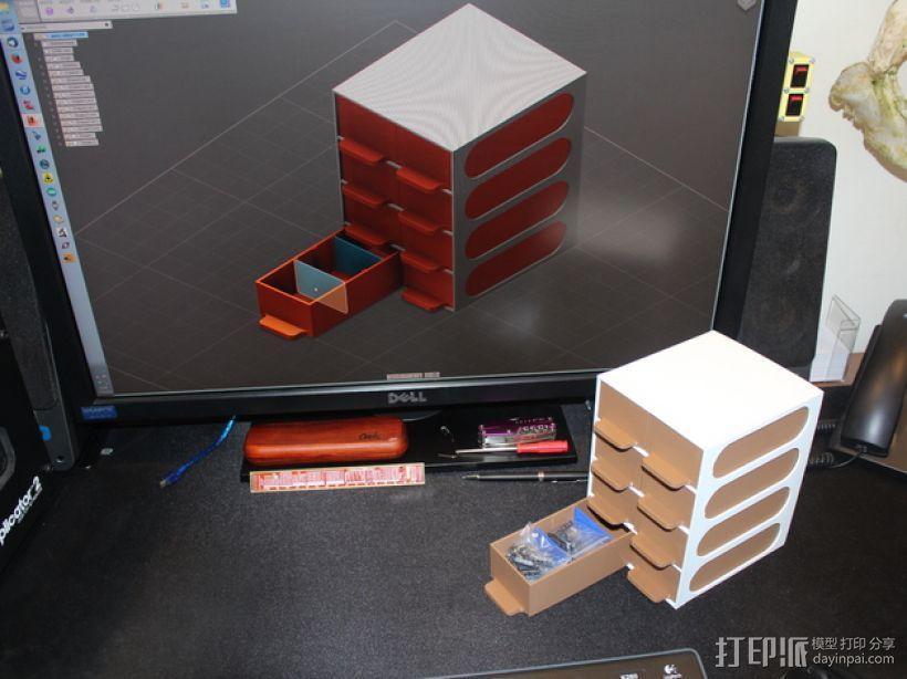 迷你零部件储物柜 3D模型  图1
