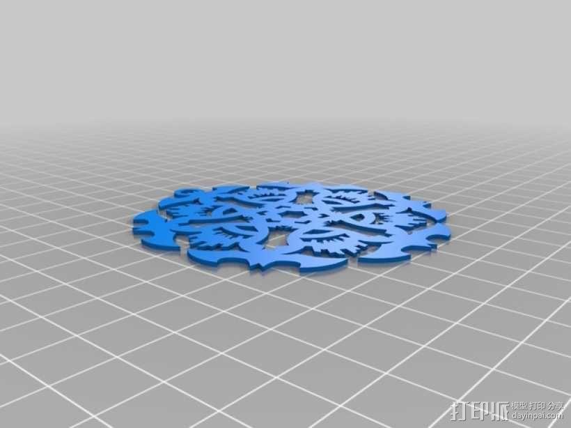 蝙蝠形雪花装饰品 3D模型  图2